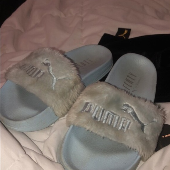 Light blue fenty slides